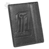 Harley-Davidson® Mens #1 Skull Logo Front Pocket Black Leather Wallet