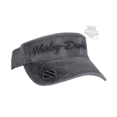 Harley-Davidson® Womens H-D with B&S on Bill Pigment Dyed Grey Cotton Visor