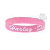 ** 5 for $5 ** Harley-Davidson® Womens H-D Glitter Debossed with Ink Fill Silicone Pink Wristband