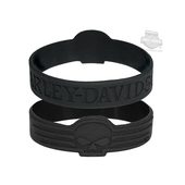 Harley-Davidson® Linear Willie G Skull Debossed Silicone Black Wristband