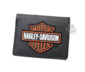 Harley-Davidson® Mens Orange B&S Embroidered Black Leather Trifold Wallet