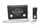 Harley-Davidson® Mens Grey B&S Embroidered Medium Trucker Black Leather Trifold Wallet