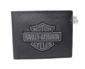 Harley-Davidson® Mens Grey B&S Embroidered Billfold Black Leather Wallet