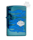 Harley-Davidson® Zippo® Lighter Ghost Harley Flames - Sapphire™