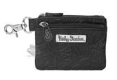 Harley-Davidson® Womens Hand Tooled Pattern Black Leather Coin Pouch