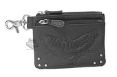 Harley-Davidson® Womens Eagle Emboss Vintage B&S Black Leather Coin Pouch