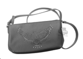 Harley-Davidson® Womens Eagle Emboss Vintage B&S Crossbody Black Leather Purse