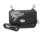 Harley-Davidson® Womens H-D Name Embroidered Black Leather Clip Bag