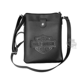 Harley-Davidson® Womens B&S Embossed Vertical Crossbody Black Leather Purse