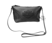 Harley-Davidson® Womens B&S with Wings Embroidered Crossbody Black Leather Purse
