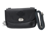 Harley-Davidson® Womens B&S with Wings Embroidered Black Leather Clip Bag