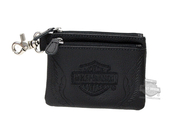 Harley-Davidson® Womens B&S with Wings Embroidered Black Leather Coin Pouch