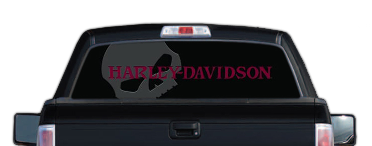 HarleyDavidson Rear Window Graphic Decal Red Skull - Truck decals for back window