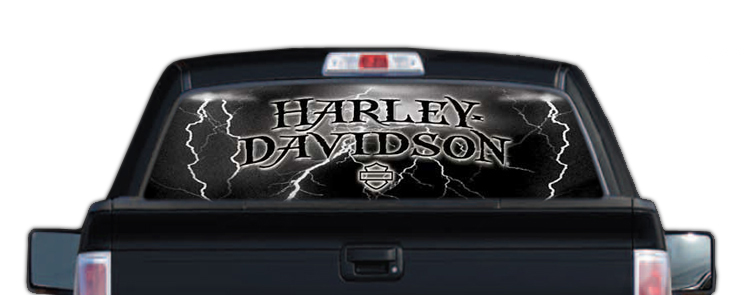 HarleyDavidson Rear Window Graphic Decal Lightning - Rear window decals for trucks
