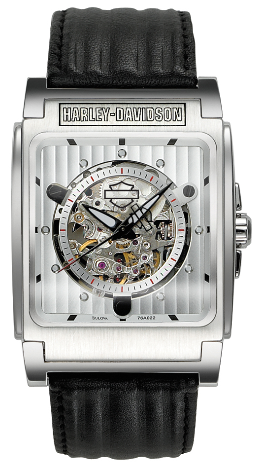 76a022 - harley-davidson® automatic stainless steel leather watch