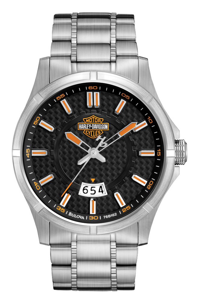 Mens Harley Davidson Thick Black Leather Band Watch by ...