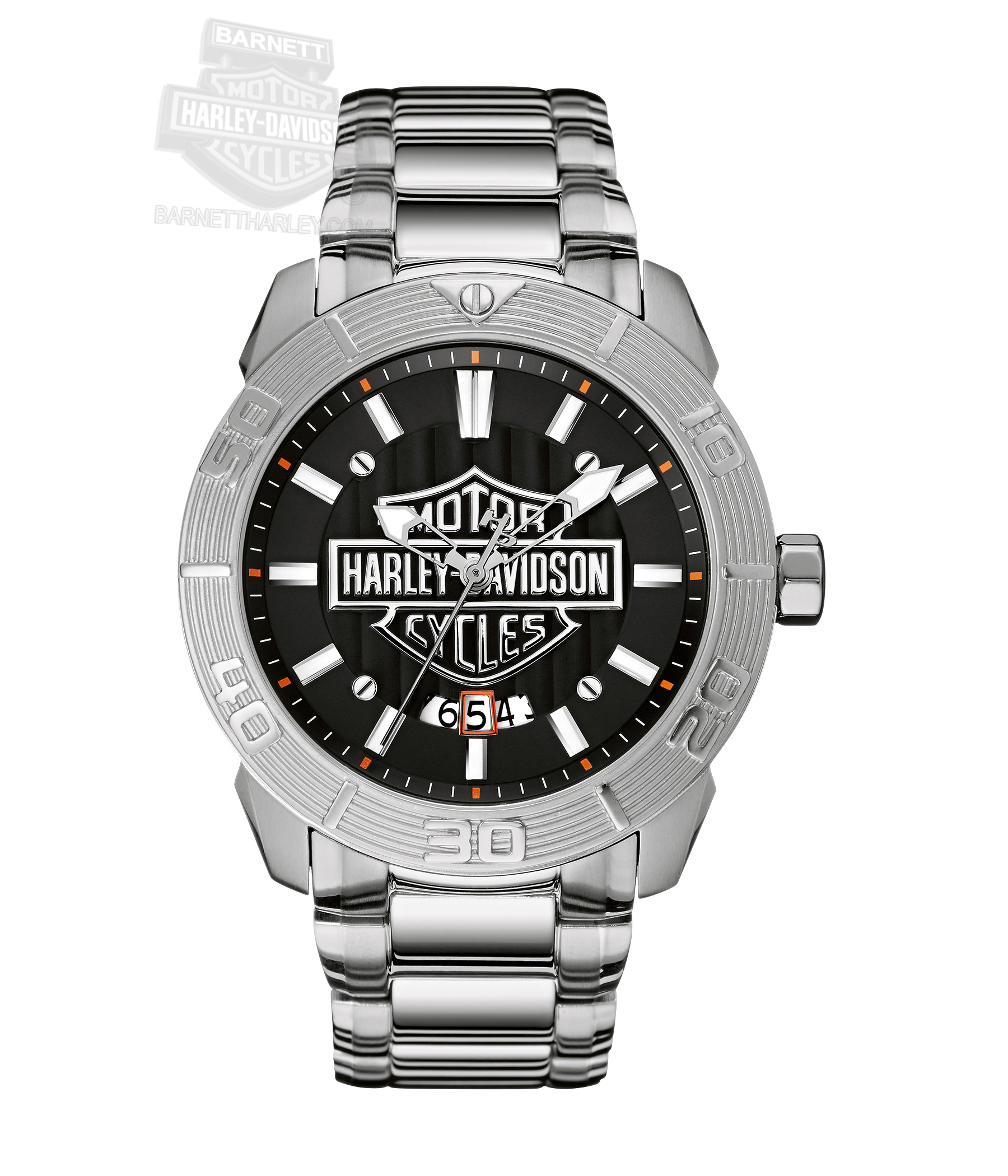 barnett harley davidson watches harley davidson® mens b s logo vertical embossed pattern black dial watch 76b169 by