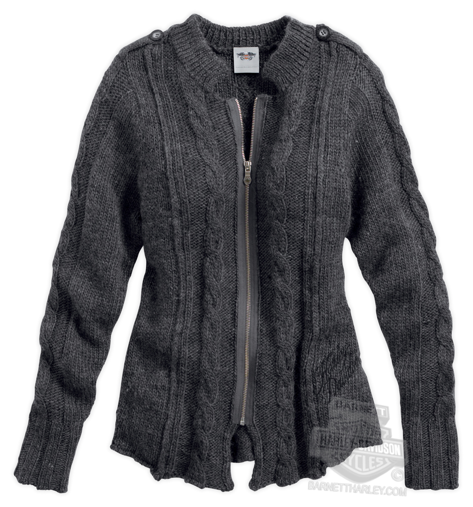 Harley-Davidson® Womens Button Cuff Cable Knit Full Zip Grey Long ...