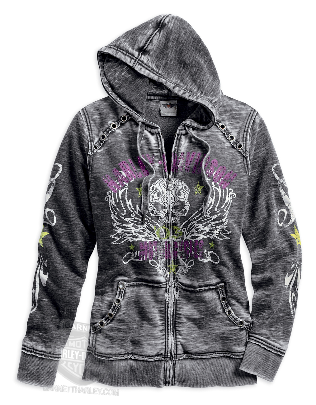 Harley-Davidson^ Womens Swirl Willie G Skull & Wings Raw Edge Burnout Grey Long