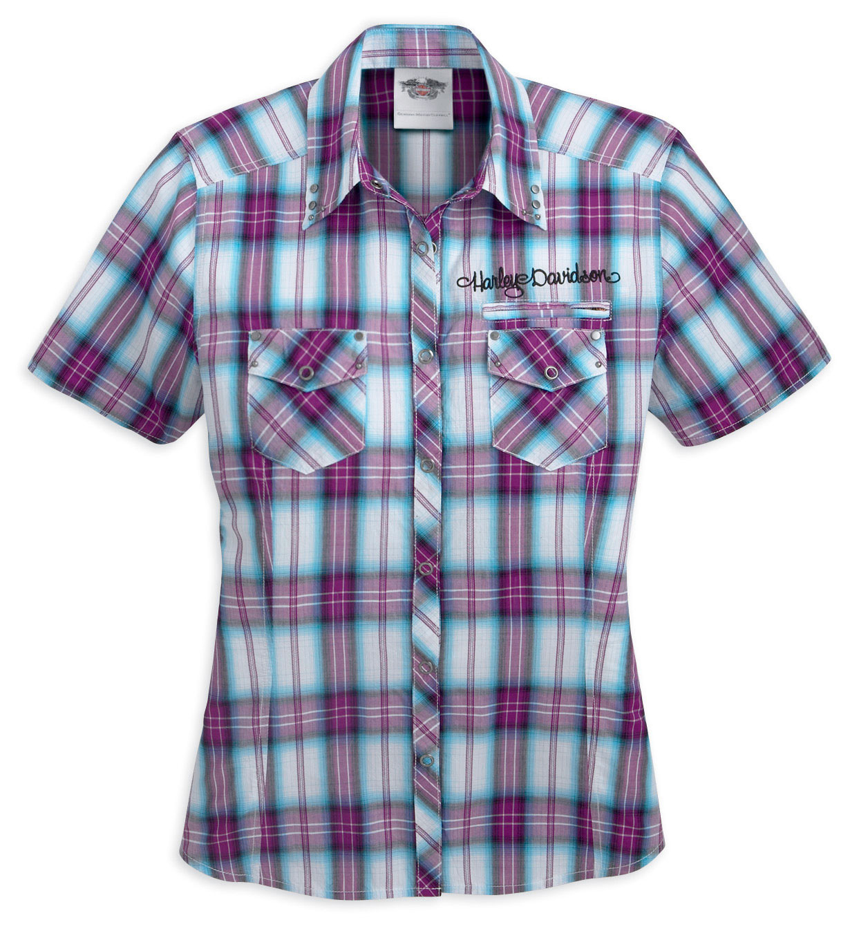 96165 11vw harley davidson womens plaid cotton short Short sleeve plaid shirts
