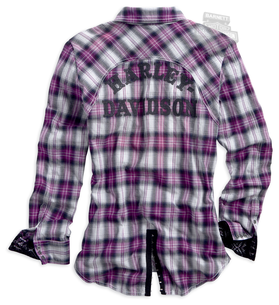 Harley-Davidson® Slim Fit Womens Button Front Crinkle Effect Convertible  Sleeve Purple Plaid Long - 96209-14VW - Harley-Davidson® Womens Button Front Crinkle Effect