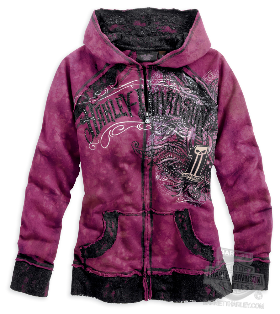 Harley-Davidson^ Womens #1 Skull Crystal Wash Lace Accents Full Zip Pink Long