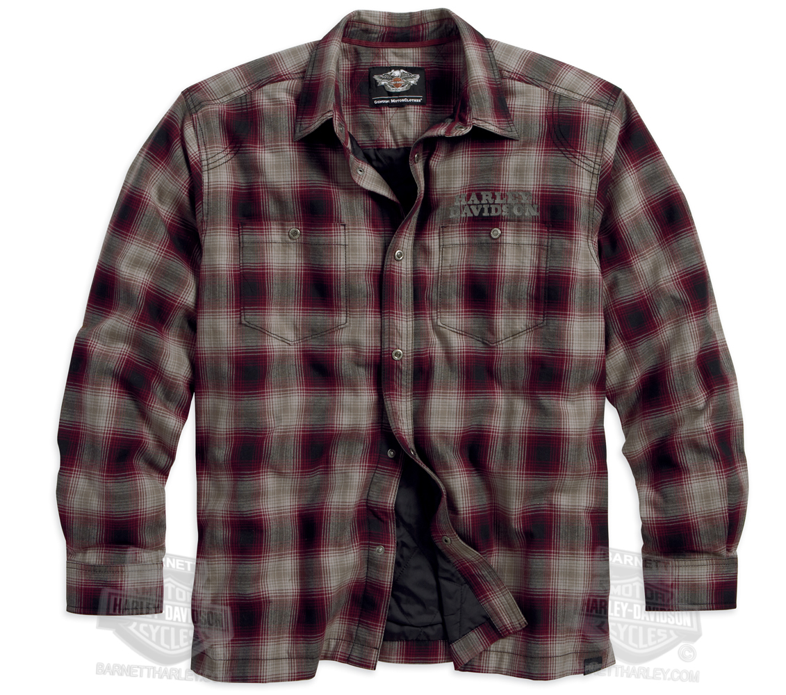 Harley-Davidson® Mens Snap Front Quilted Plaid Long Sleeve Shirt ...