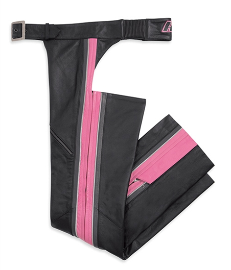 Harley-Davidson^ Womens Comfort Cruiser Stripe Pink Leather Chaps