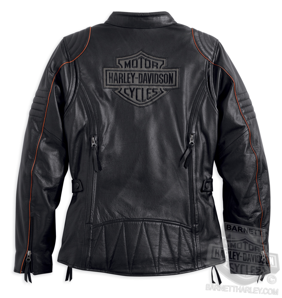 Harley-Davidson^ Womens Eclipse Waterproof & Reflective with Triple Vent System Black Leather Jacket