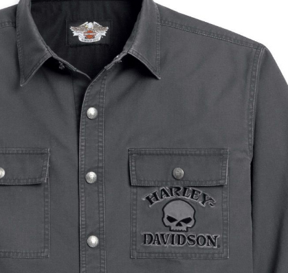 Harley-Davidson^ Mens Willie G Skull Grey Long Sleeve Shirt Jacket 99011-11VM