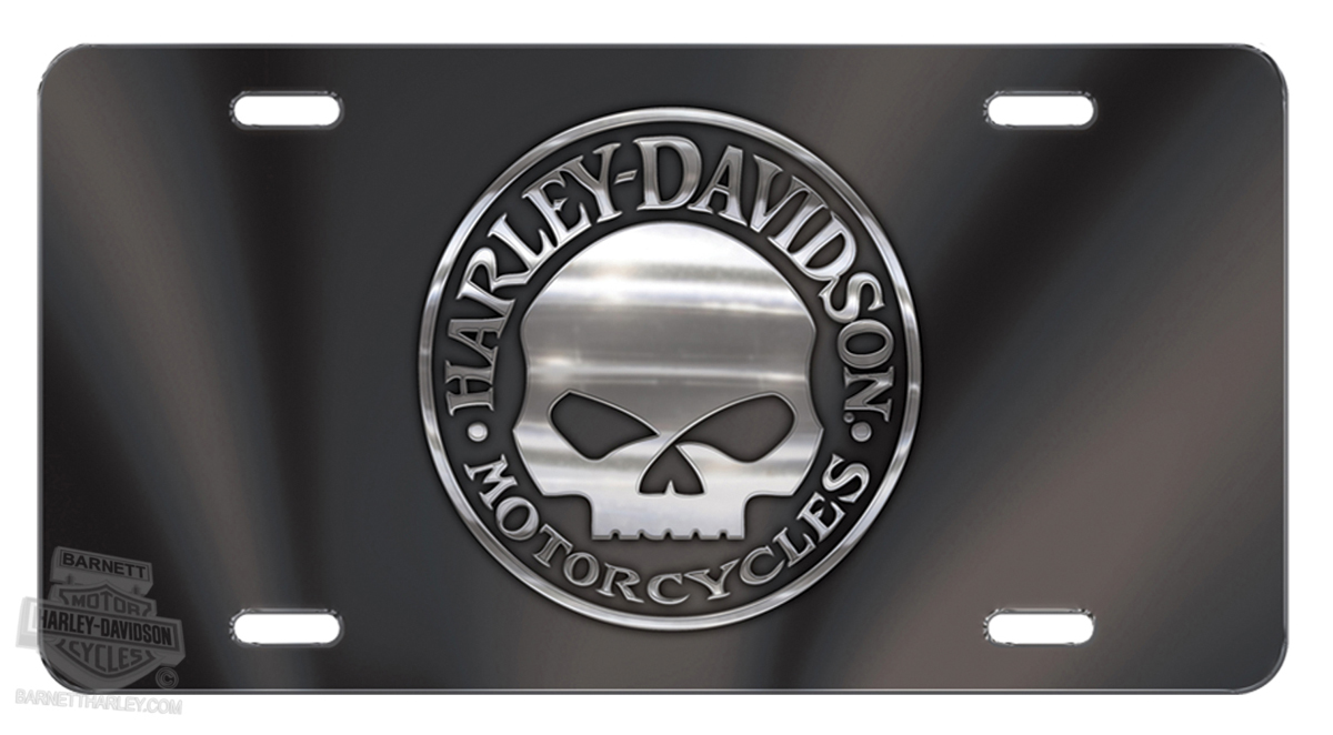 Cg2026 Harley Davidson 174 Black Front License Plate Willie