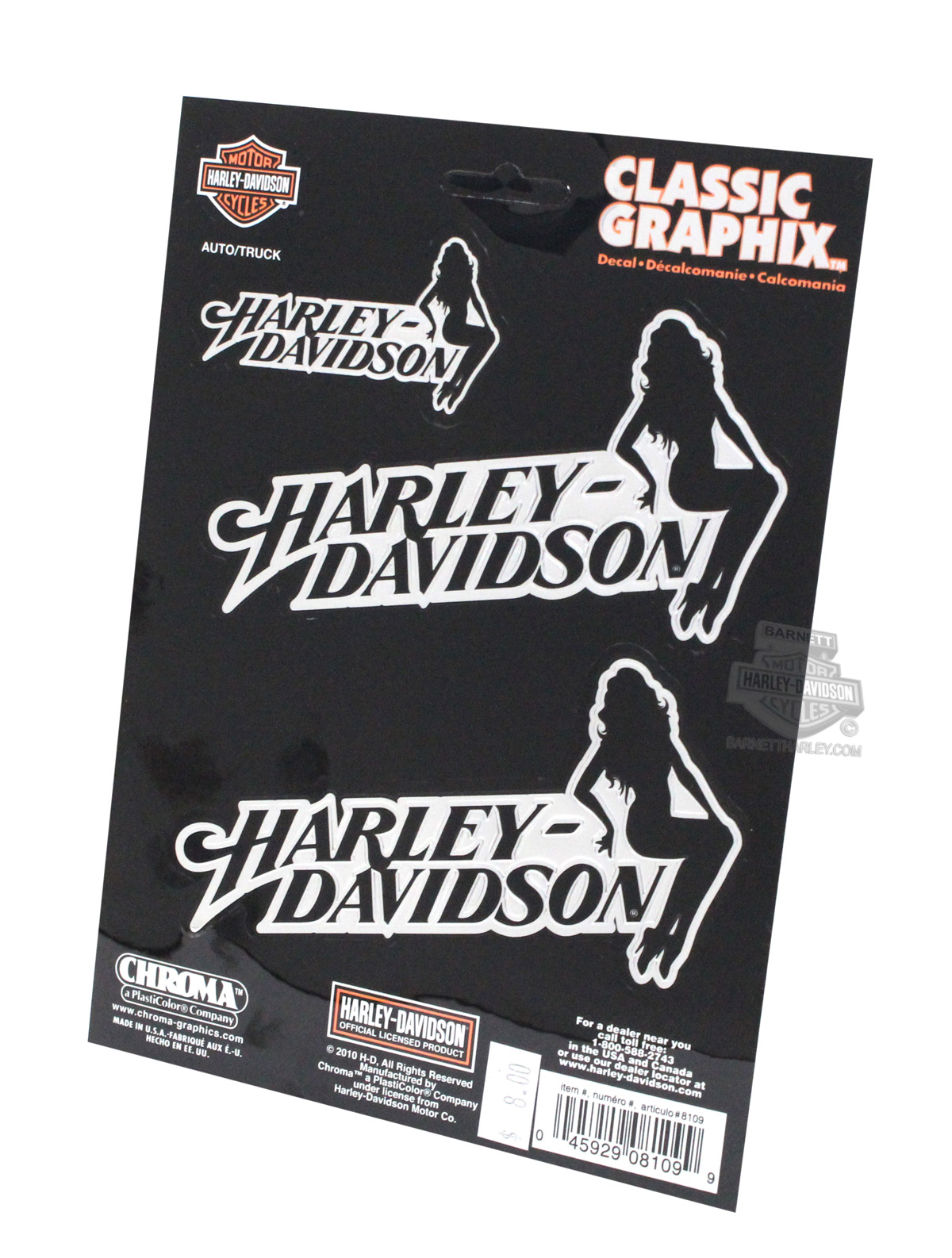 Harley-Davidson® HD Text with Sitting Lady Graphix™ Decals 3pc