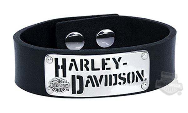 HDB0299 HarleyDavidson Mens 925 Silver HD Cutout Leather Cuff
