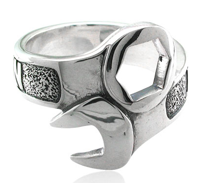harley davidson 925 silver wrench mens ring - Harley Wedding Rings