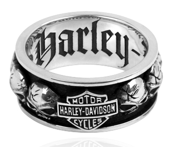 harley davidson 925 silver spinning skull mens ring - Harley Wedding Rings