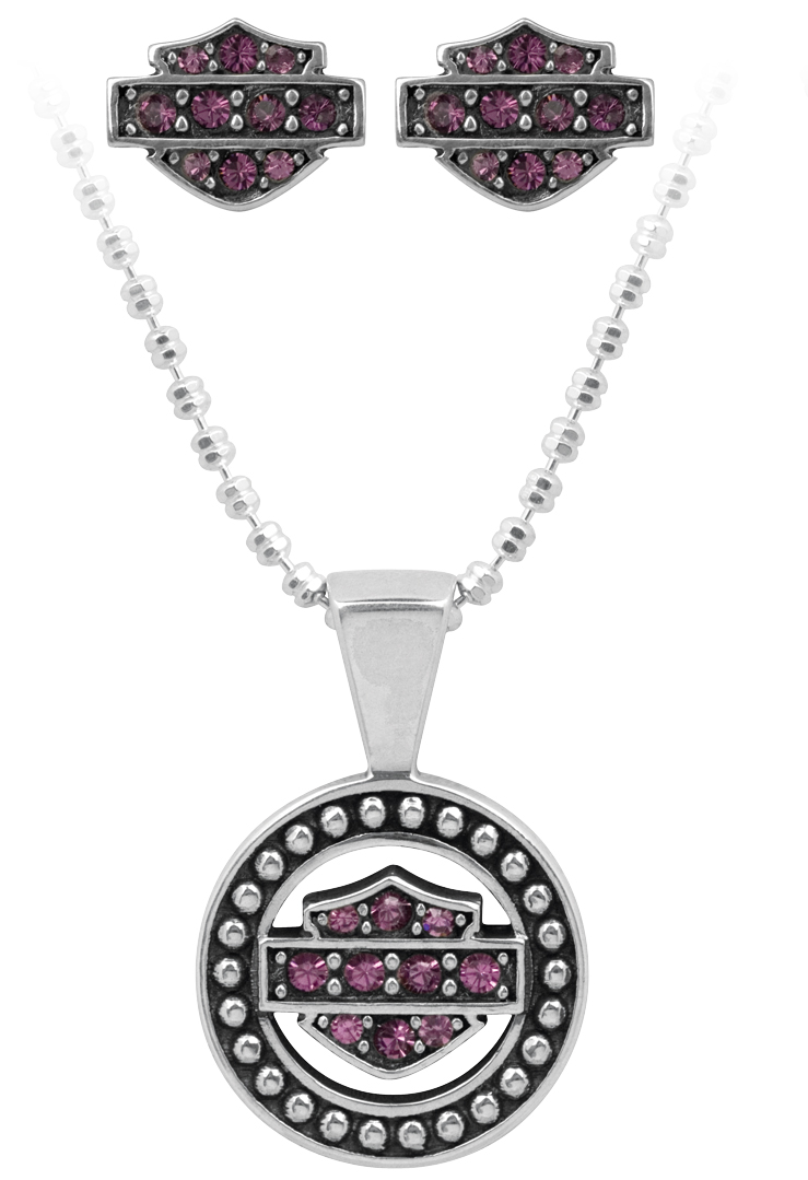 Harley-Davidson® .925 Silver Circle Beaded Necklace & Earring Set with Purple Swarovski Crystals