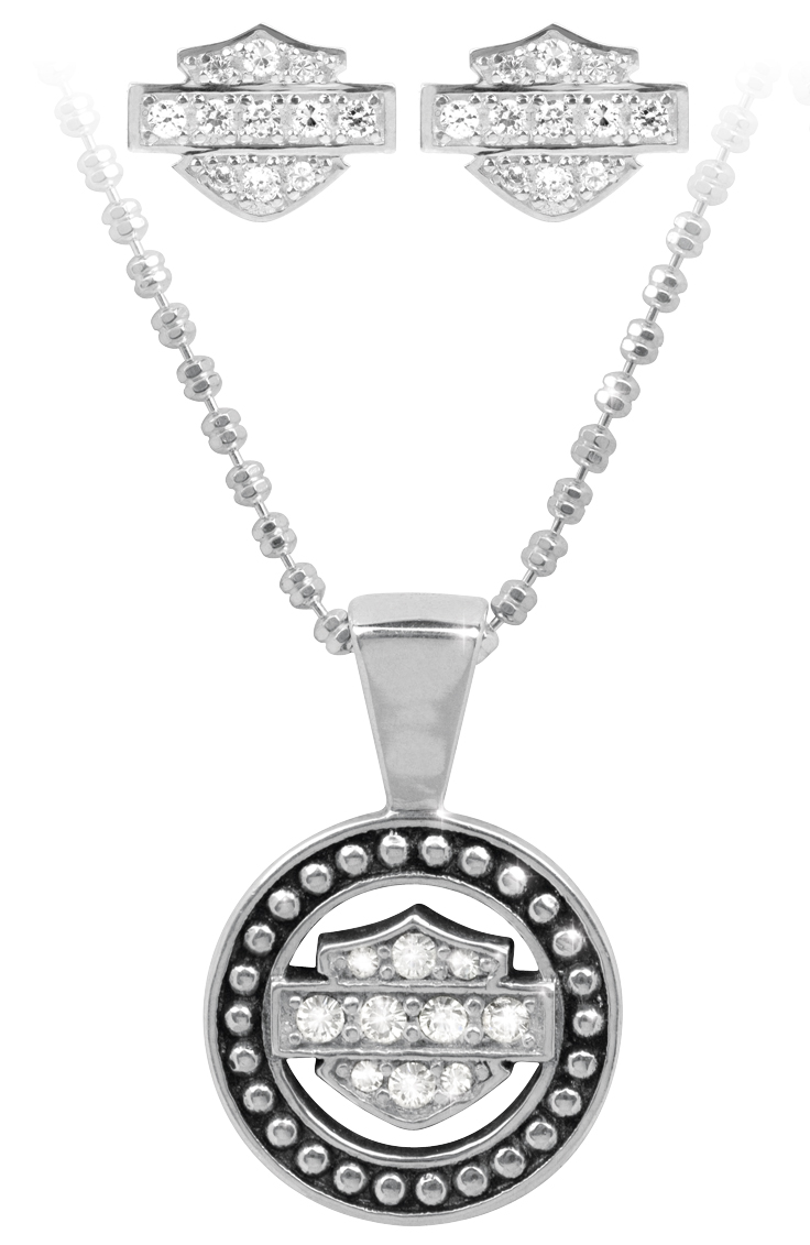 Harley-Davidson® .925 Silver Circle Beaded Necklace & Earring Set with White Swarovski Crystals