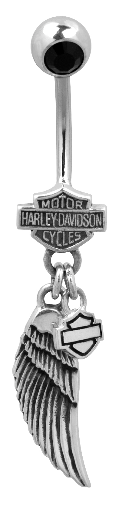 Harley-Davidson® .925 Silver Black Onyx and Wing Belly Jewel