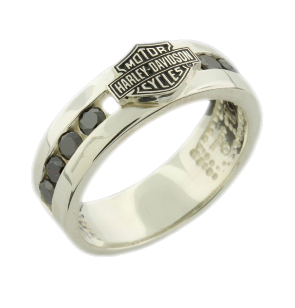 Tire Wedding Rings >> HRG7473BD - Harley-Davidson® B&S With Black Diamonds ...