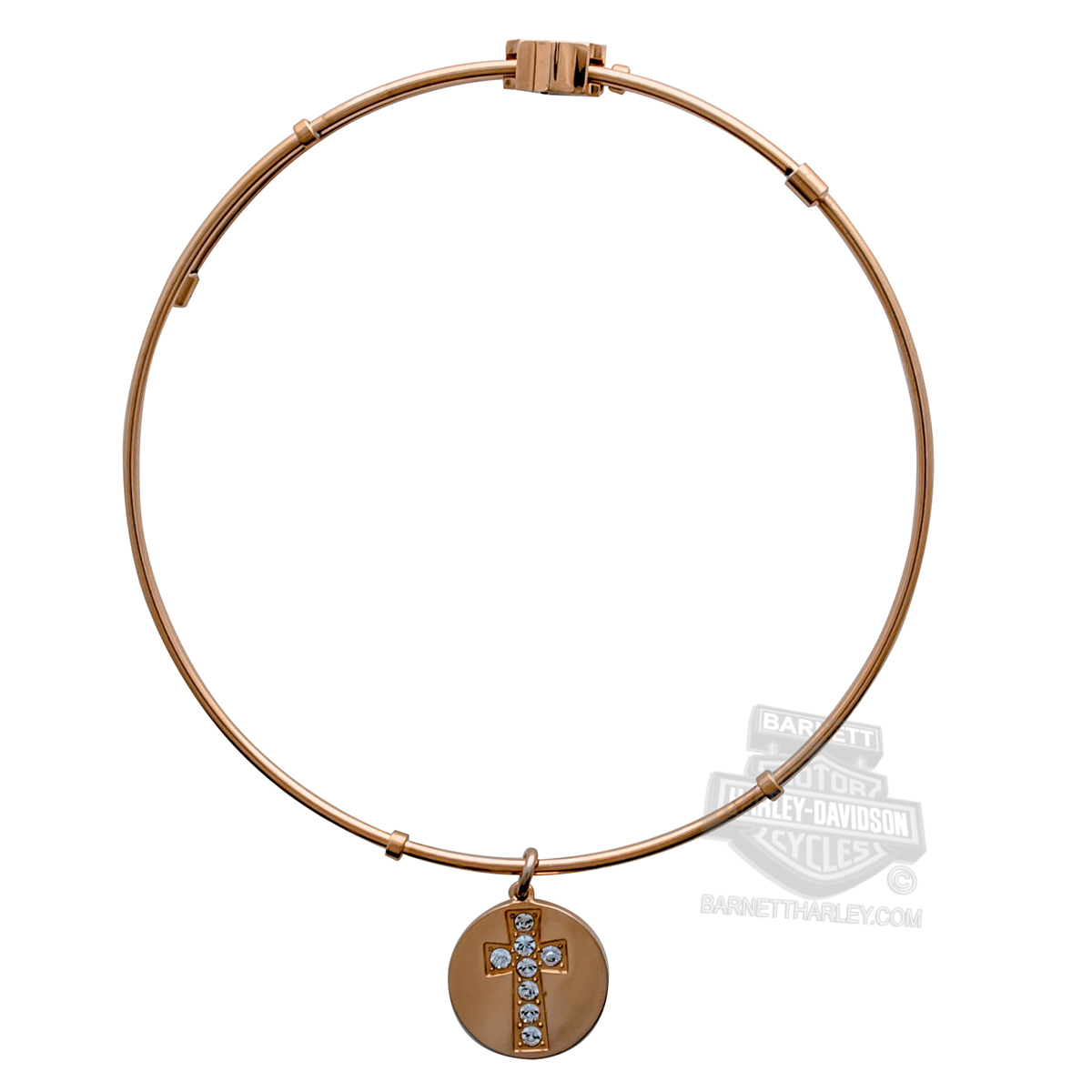 Harley-Davidson® Womens Stainless Steel Gold Tone Bling Cross Charm Bangle Bracelet by Mod Jewelry®