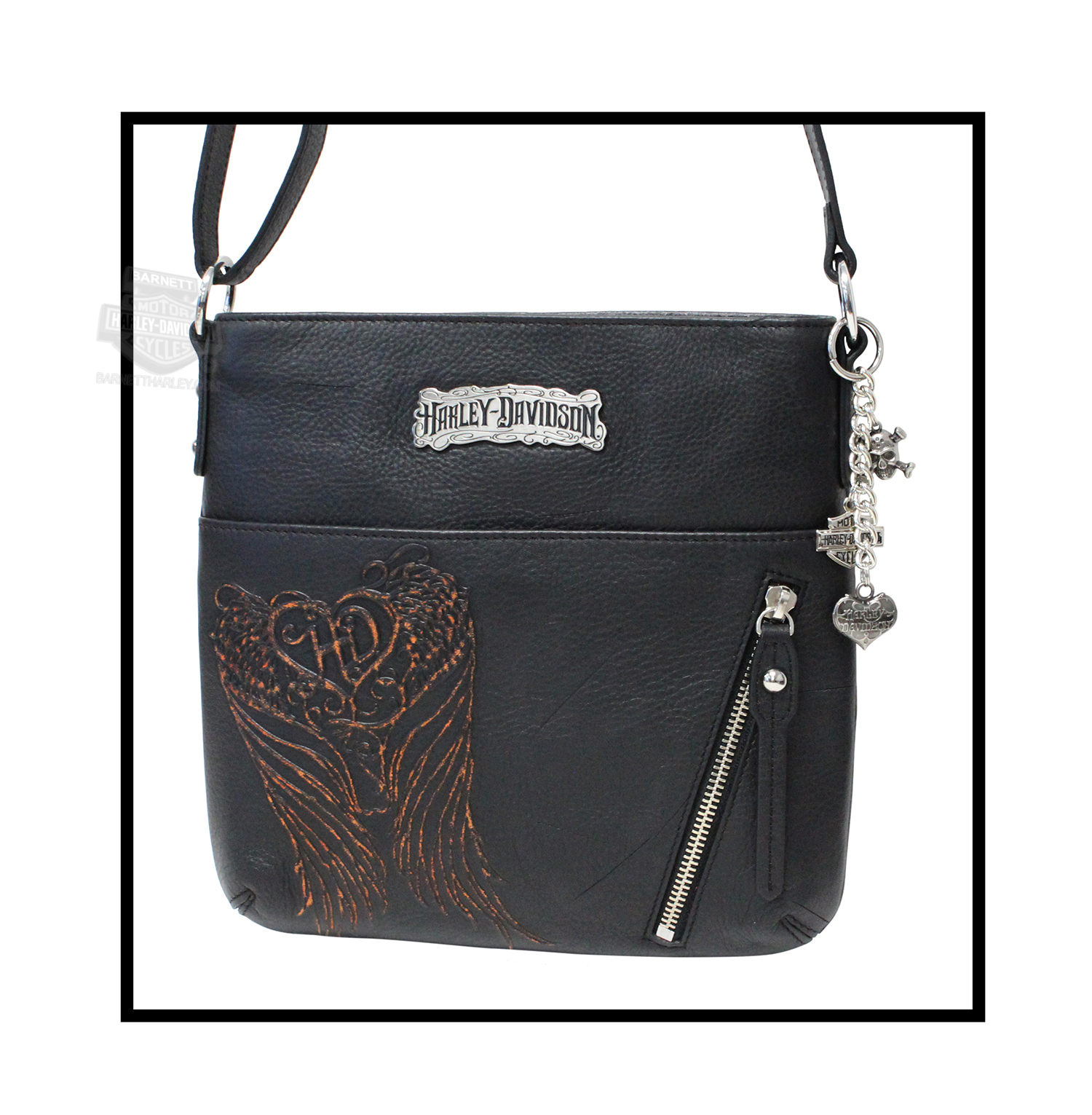 pk9246l-bk - harley-davidson® womens punk hd wings crossbody black