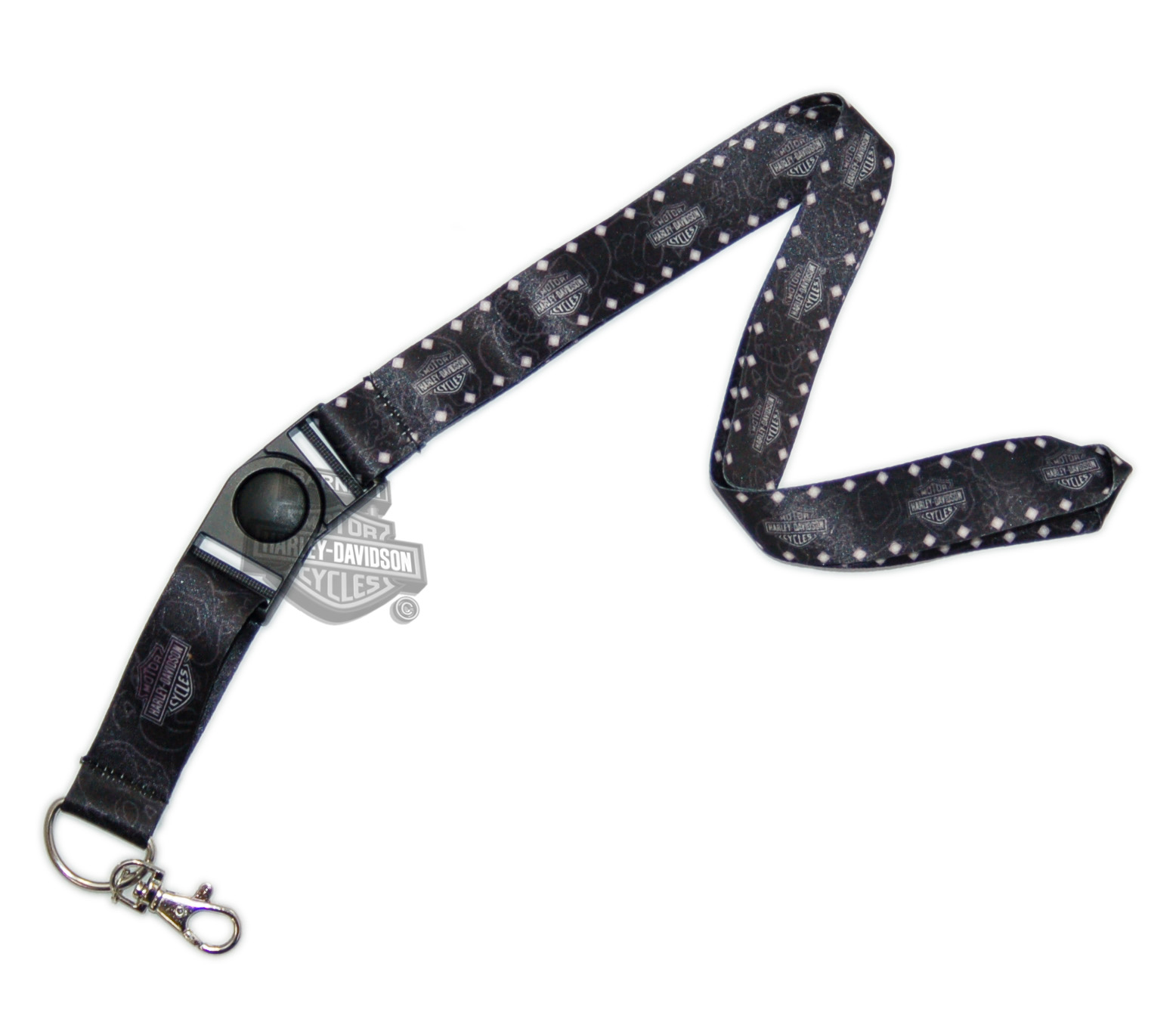 Harley-Davidson® Mens Studs with B&S All Over Black Clip Lanyard