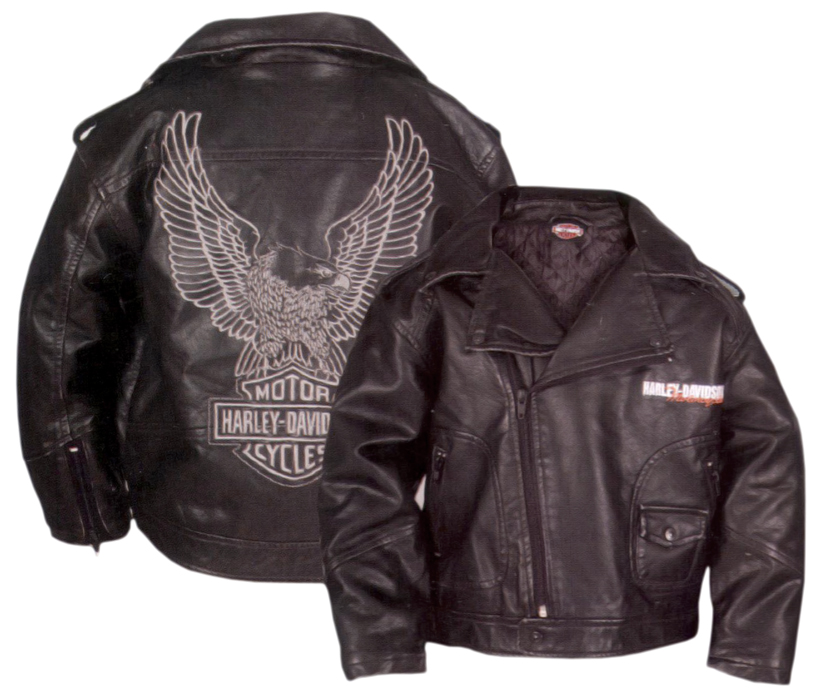 Harley-Davidson® Boys Youth Upwing Eagle H-DMC® Biker Jacket Black