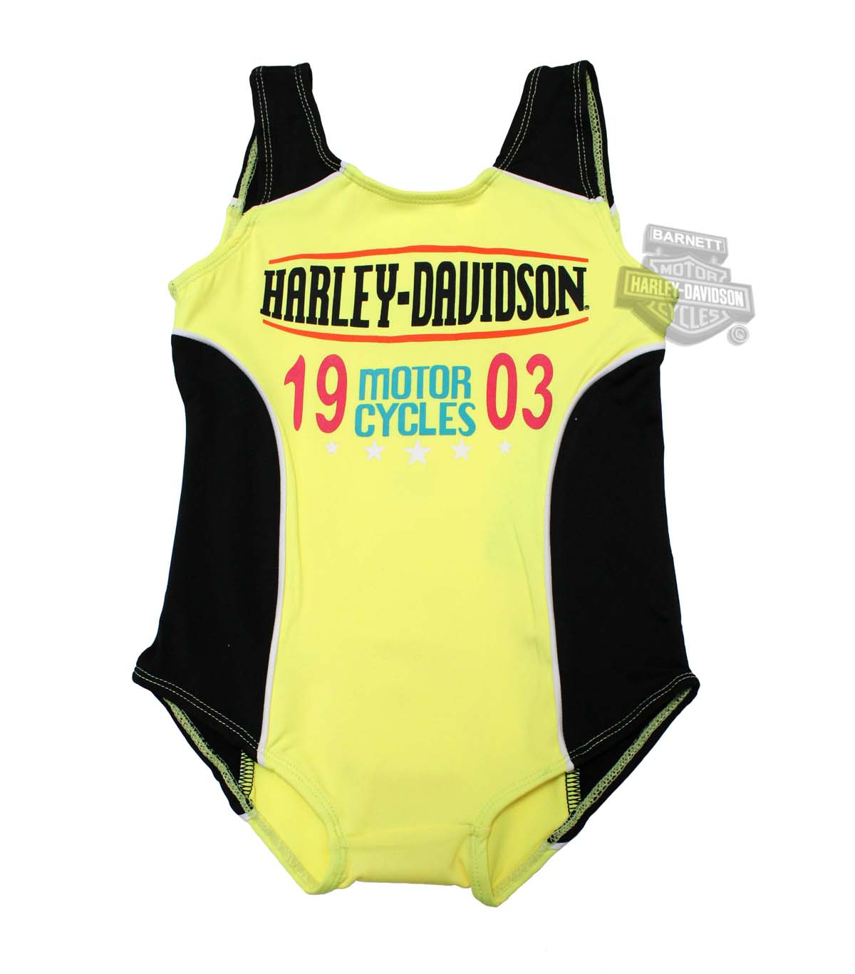 ** SIZE 10/12 ONLY ** Harley-Davidson® Girls Youth One Piece Safety Yellow Swimsuit
