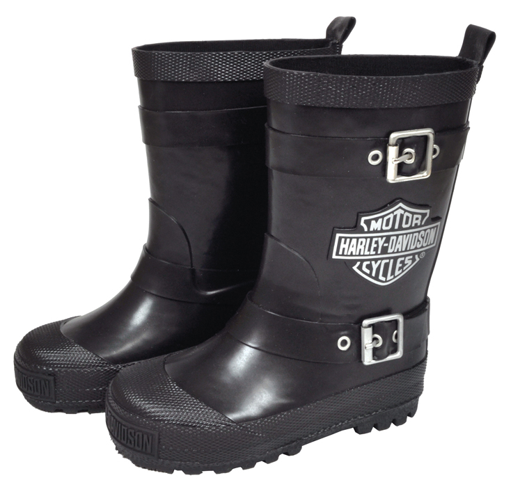 Harley-Davidson® Youth Kids Biker Rubber Rain Boots Black