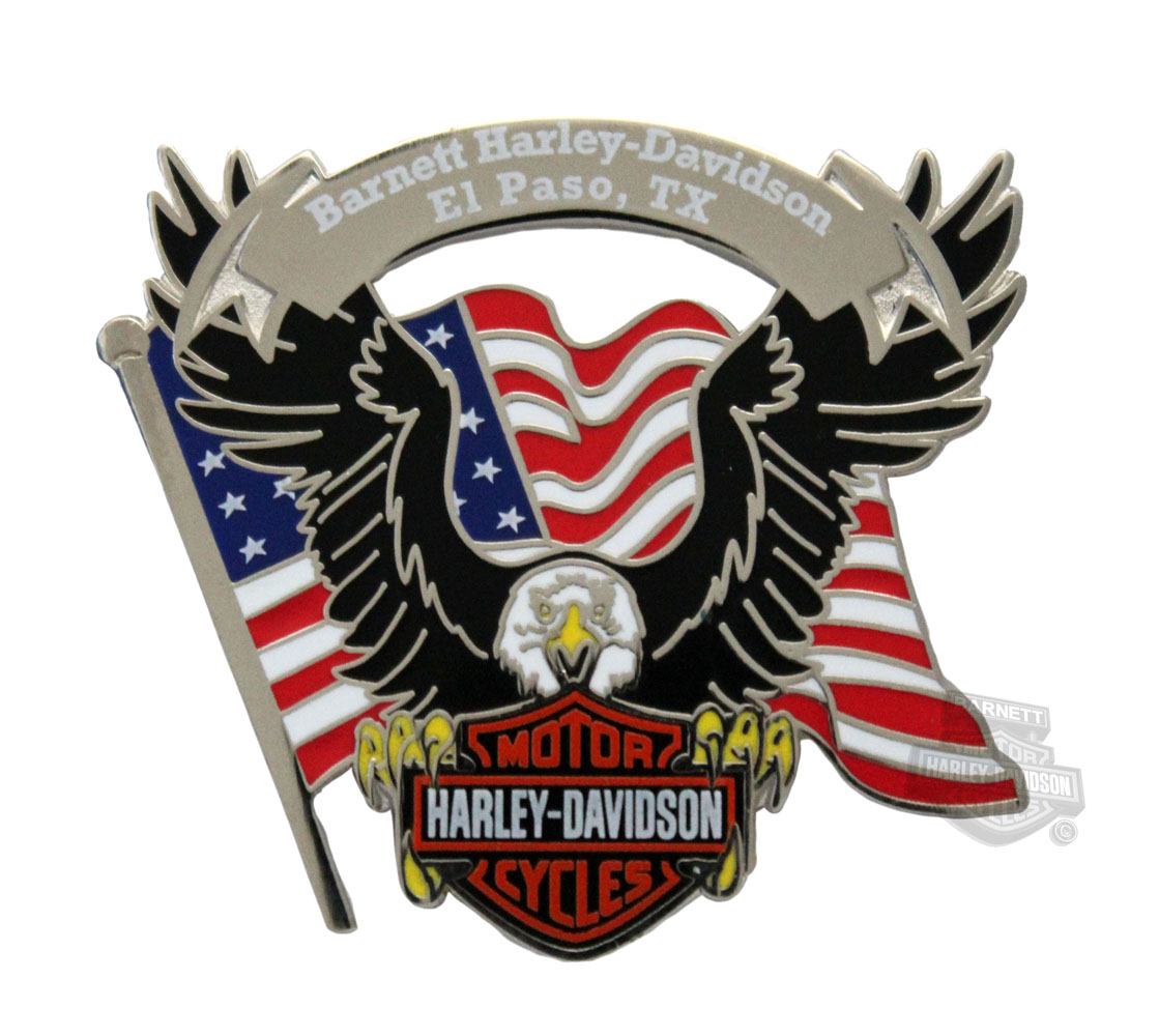American Flag And Eagle Harley  Davidson Beach Towel