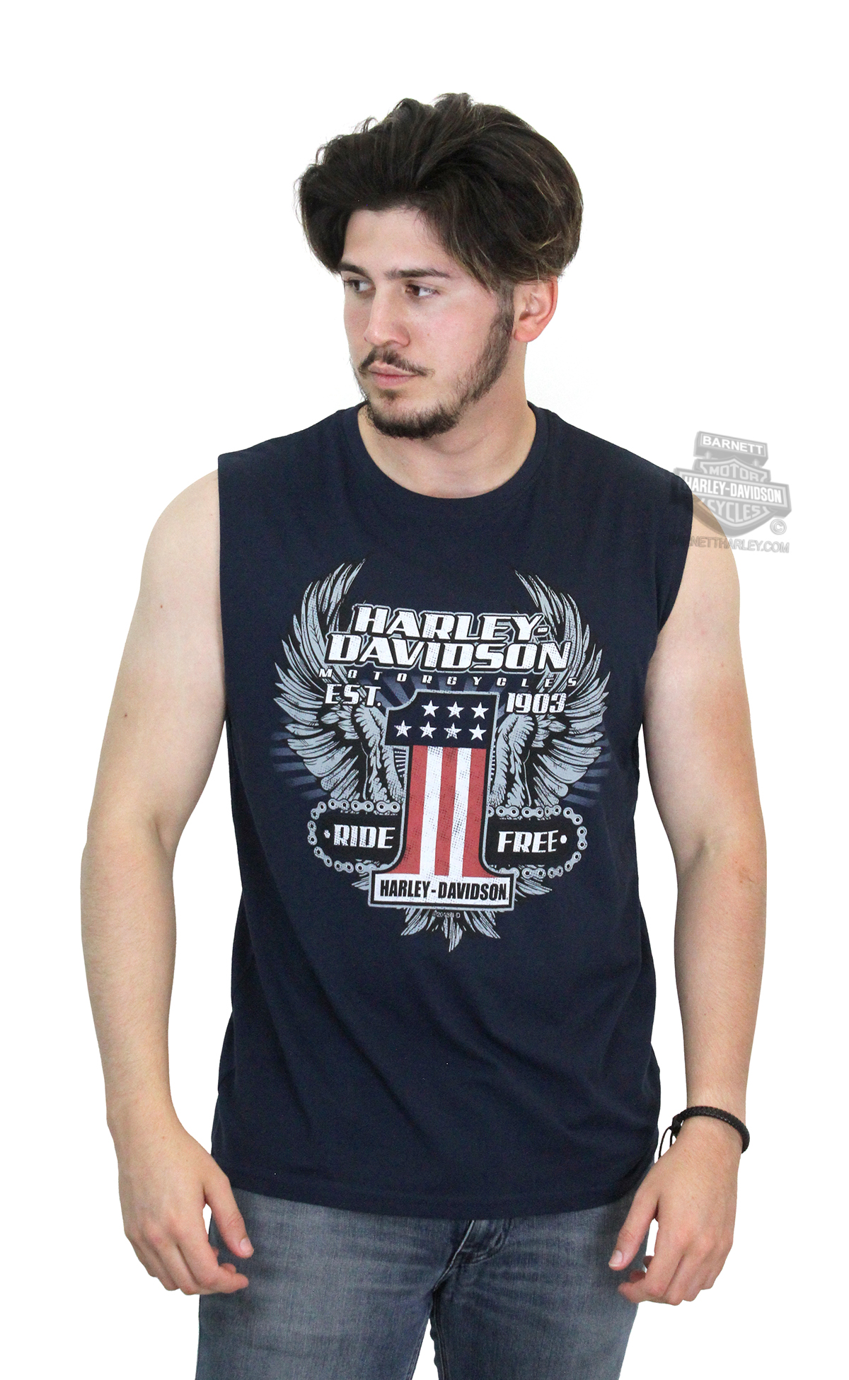 0bb1f2d7 Harley-Davidson® Mens Daredevil Winged #1 Logo Navy Sleeveless Muscle T- Shirt