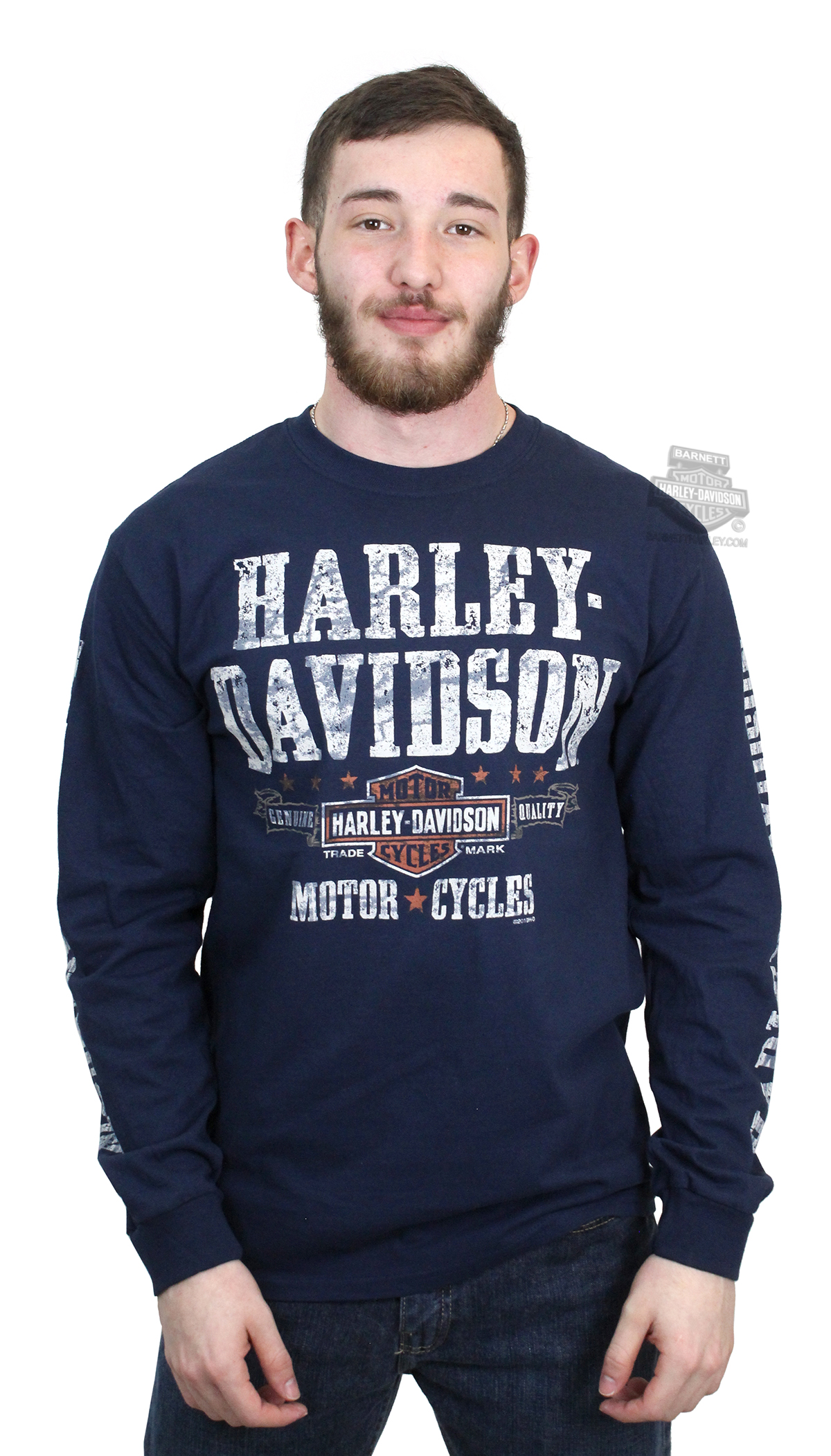 Harley-Davidson® Mens Adventurer Trademark B&S Navy Long Sleeve T-Shirt