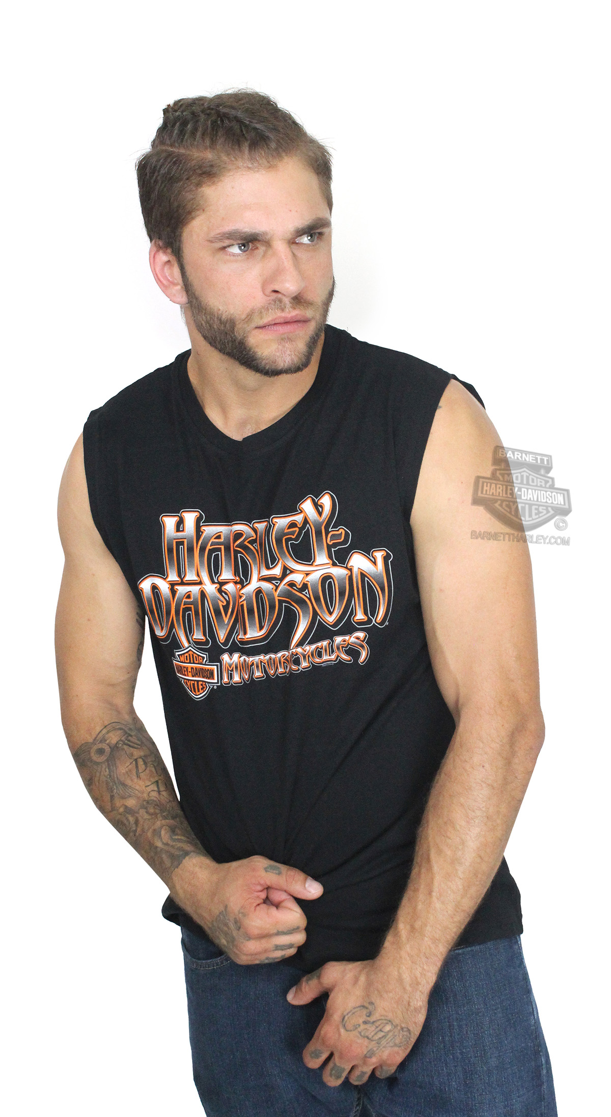 Harley-Davidson® Mens Replicate B&S H-D Name Black Sleeveless Muscle T-Shirt