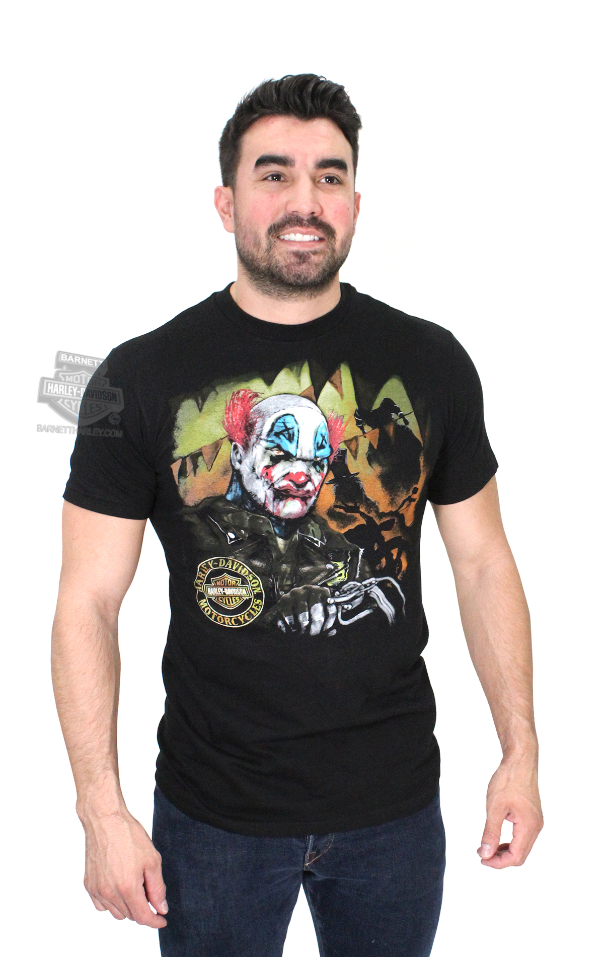 Harley-Davidson® Mens Clown Chrome with B&S Black Short Sleeve T-Shirt